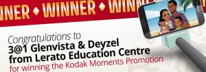 Congratulations to 3@1 Glenvista & Deyzel from Lerato Education Centre for winning the Kodak Moments Promotion